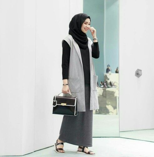 Long Sleeveless Cardigan and Skirt with Hijab