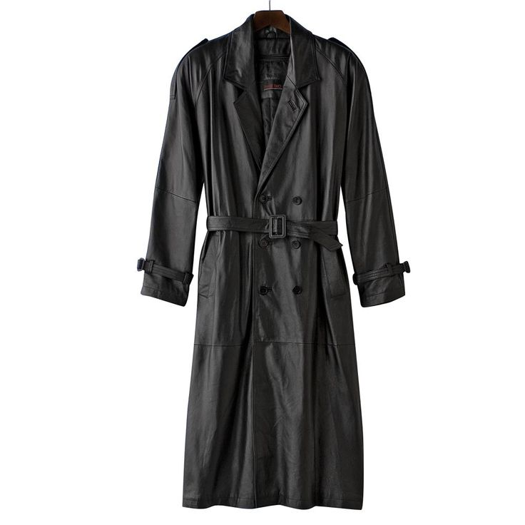 Big & Tall Excelled Nappa Leather Trench Coat, Men's, Size: Xl Tall, Black