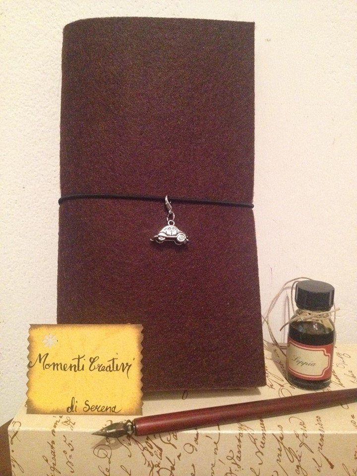 Quaderno del Viaggiatore Notebook Traveler's Notebook Midori copertina in feltro nero, quaderni, idea per appunti e ricordi di MomentiCreatividiSer su Etsy