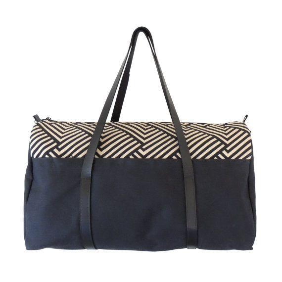 Noir sac de voyage / toile Weekender Bag / sac de voyage grand / toile et cuir polochon / noir sac de voyage en cuir / Cuir sangle Duffle