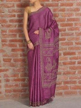 Plum Badla Tussar Silk Saree