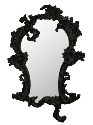 When you look in this mirror, an Aubrey Beardsley drawing looks back at you.    Claudette Mirror- Black by Fabulous and Baroque on Gilt Home