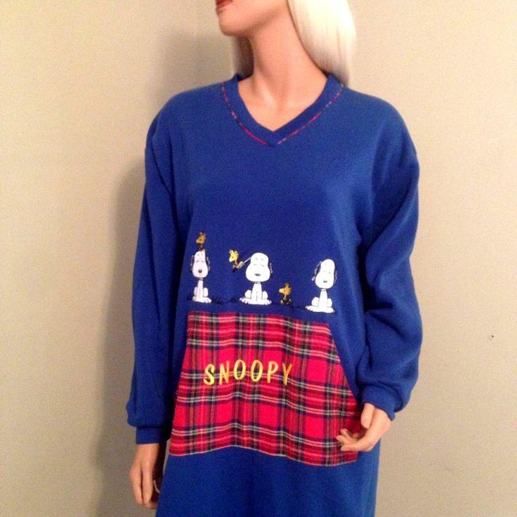 Peanuts Blue red plaid Snoopy Charlie Brown sz XL Nightgown sleep sweat shirt  #PeanutsClassics