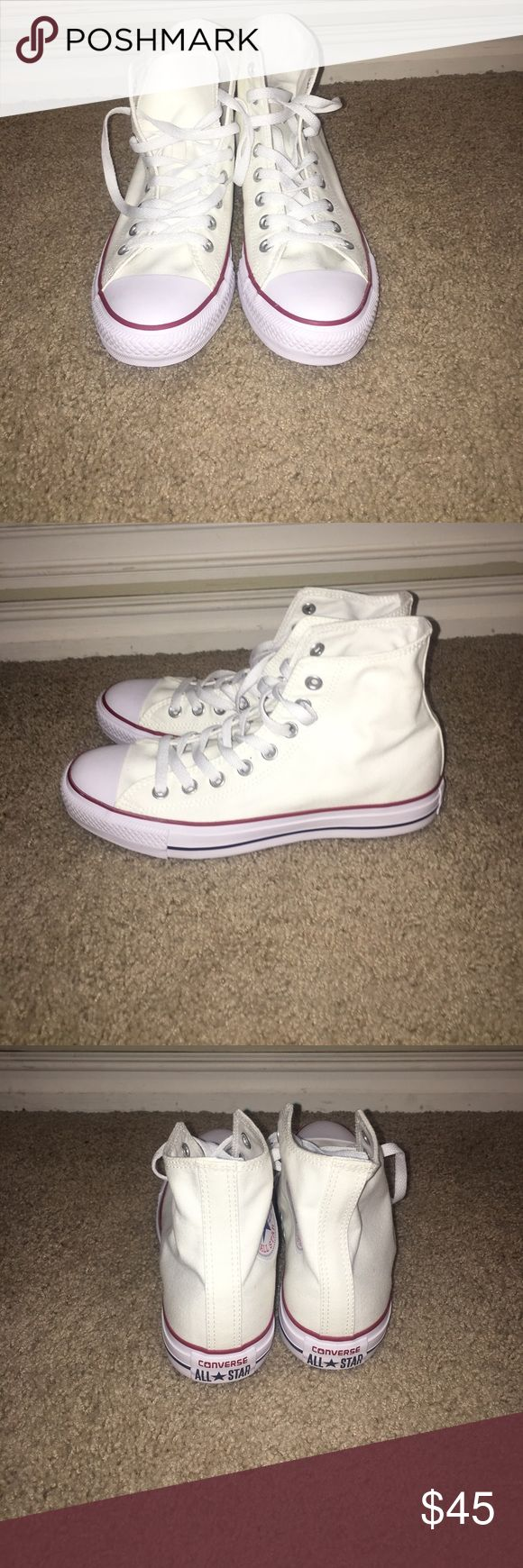brand new white high top converse never been worn high top converse// super cute but not my size Converse Shoes Sneakers