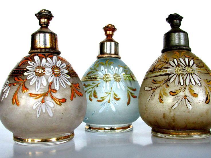 3 Antique Perfume Sprinkler Top Moser Bohemian Enamel Barber C 1900 | eBay