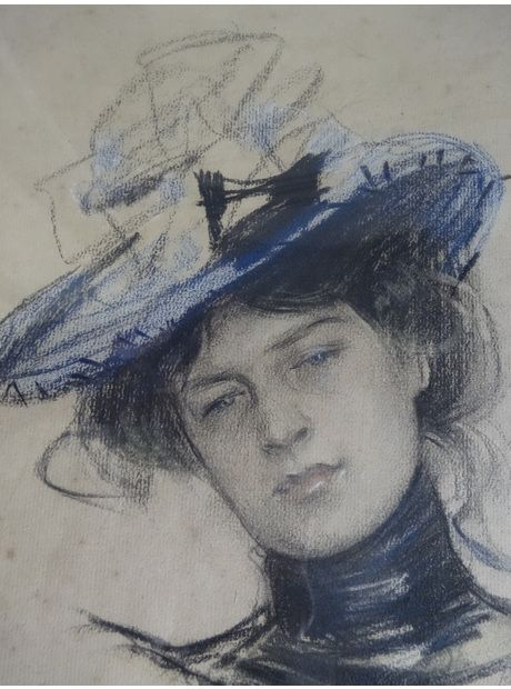 Ramón Casas i Carbó (1866 - 1932), Portrait of a Woman, Signed Pastel on Paper | www.thehighboy.com