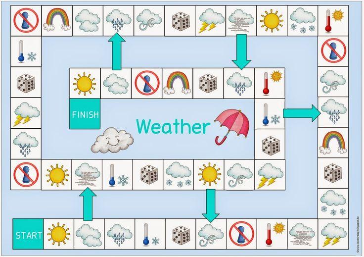 """Spielfeld zum Thema """"weather""""    Auch für meine """"Wiederholungs-Woche"""" ist dieses Spielfeld  gedacht, das man wieder zum Üben und Festigen d..."""