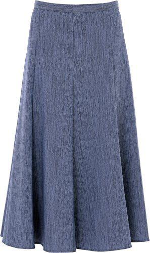 e1d9d7b259 VSG Online Ladies Womens Plain Skirt 31 Inch Length Half Elasticated Waist  Size 10 To 24 UK (10 Denim)