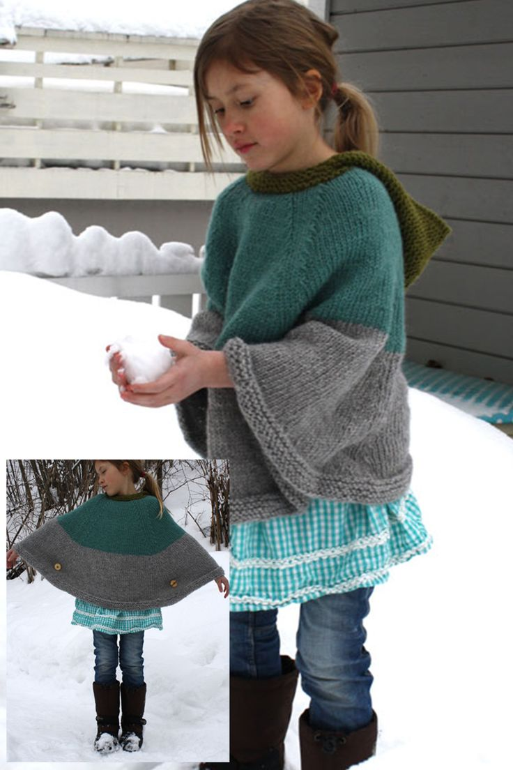 Child S Poncho With Buttons Free Pattern Kids Knitting