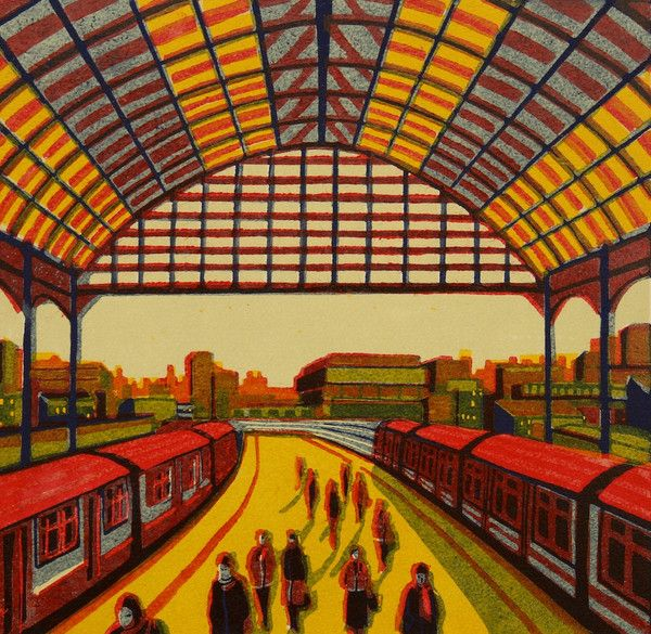 Every Moment So Fleeting - a linocut print by Gail Brodholt