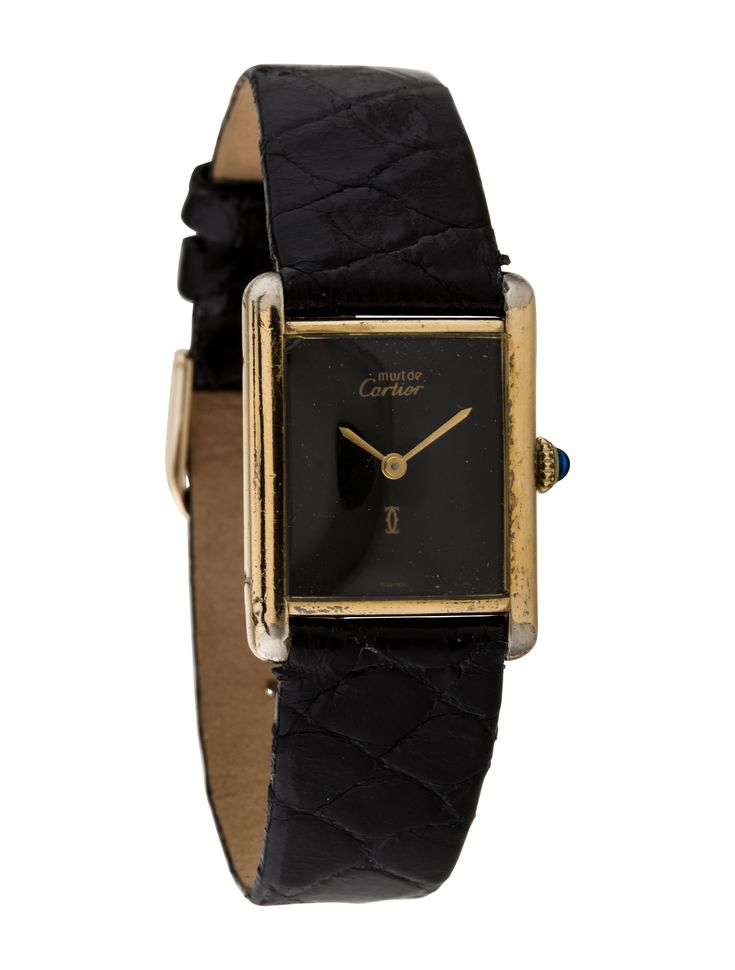 Ladies' gold-plated stainless steel 24mm x 31mm Cartier Tank Must de Cartier manual wind watch with smooth bezel, black dial, sword hands, cabochon accent at crown, black leather strap and tang buckle closure. Includes box and manual.