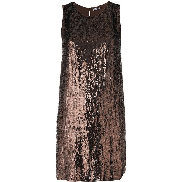 P.A.R.O.S.H. sequinned dress (€410) ❤ liked on Polyvore featuring dresses, brown, brown sequin dress, sequin dress, sequin embellished dress and brown dress