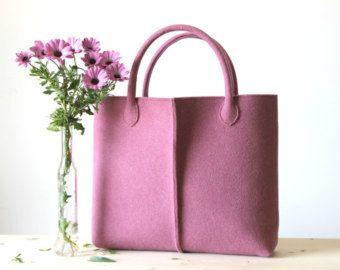 Handmade Bag Felt Tote Red and Gray Shopper Shopping by WeltinFelt