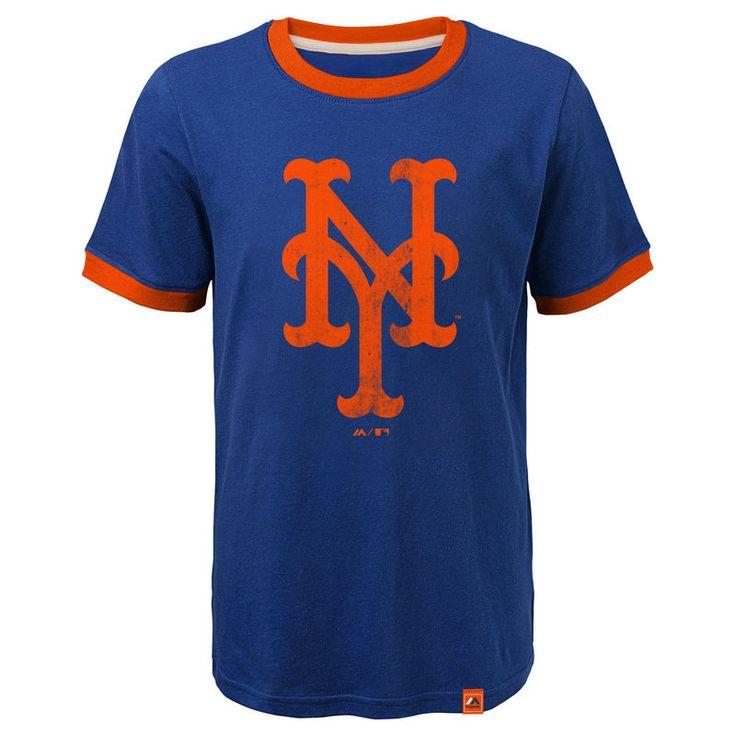 New York Mets Majestic Youth Baseball Stripes Ring T-Shirt - Royal