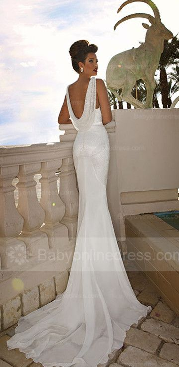 Backless Mermaid Bridal Dresses 2015 V-Neck Lace Sweep Train Sexy Wedding Dresses, lace weddding dress, wedding dress long