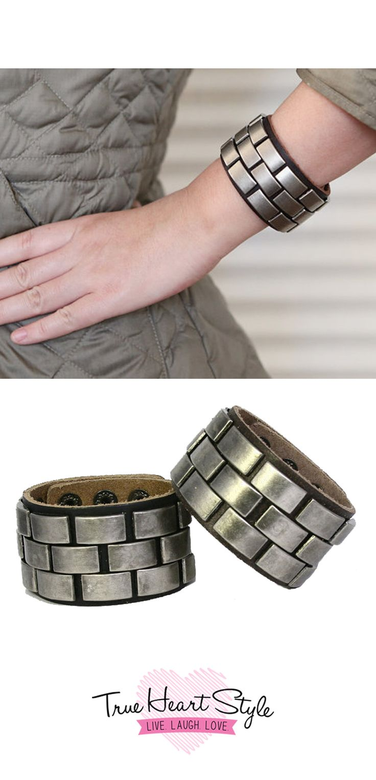 Rectangularstudded Leather Cuff Bracelet Fits Both Men And Women