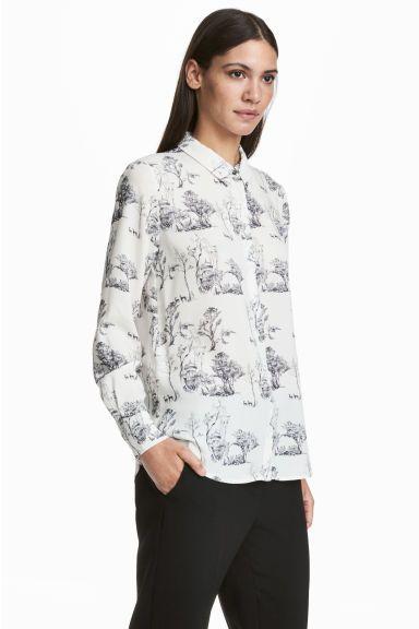 L2017 Bluzka z długim rękawem - Biały/Wzór - ONA   H&M PL