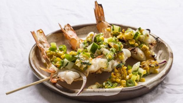 Corn is abundant at this time of year and it is also the sweetest while in season. Cooking prawns with the shell on is much easier than peeling the whole crustaceans, and the fat layer under the shell keeps them moist and tasty while cooking.