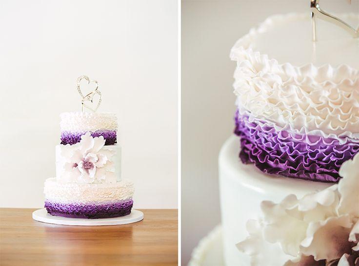 Purple, Lilac and white ruffled ombre layered cake | Fresh Flowers | Coolibah Downs Wedding | Eliza Davis - Gold Coast Wedding Photographer |