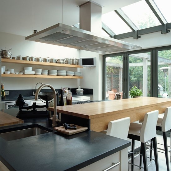 My kitchen would never be so tidy, but I love this look (minus the extractor fan. I think it obscures the sight line too much).