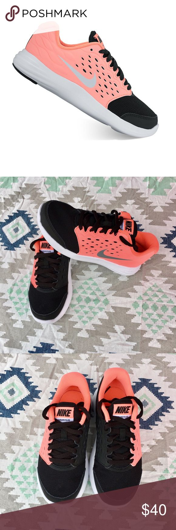 "Nike LunarStelos girls shoes! Nike LunarStelos girls shoes size girls 11 and 12, color black and pastel orange ""brand new"" Nike Shoes Sneakers"