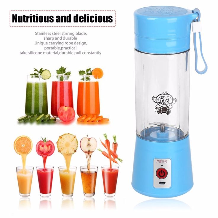4 Colors 380ml USB Electric Fruit Juicer Handheld Smoothie Maker Blender Rechargeable Mini Portable Juice Water Bottle #Affiliate