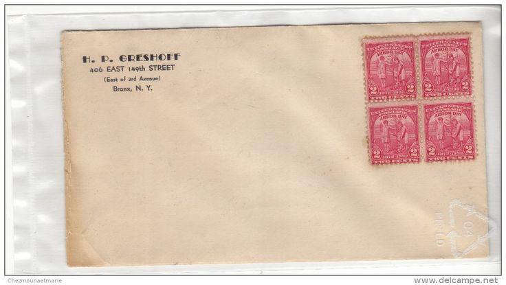 USA ETATS UNIS - NEW YORK BRONX - ENTETE GRESHOFF - BLOC DE 4 X N° 347 SUR ENVELOPPE