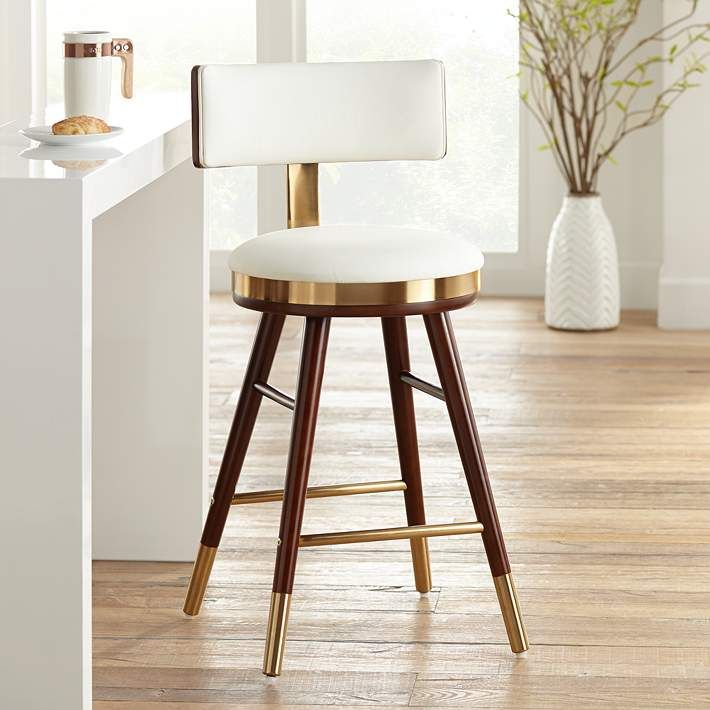 Parker 25 1 2 Quot White Leather Counter Stool Contemporary