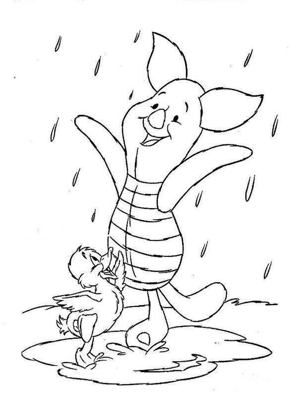 winnie the pooh color pages - Disney Baby Piglet Coloring Pages