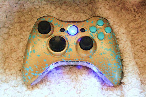 Brand New Xbox 360 Custom Controller  *Blue  LED Mods * Custom Gold with Blue Splash on Etsy, $75.45