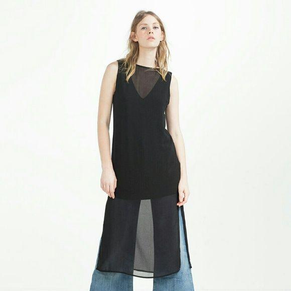 Zara dress Model is wearing as a tunic however this is a dress! Brand new. Super cute! Side slits. Zara Dresses