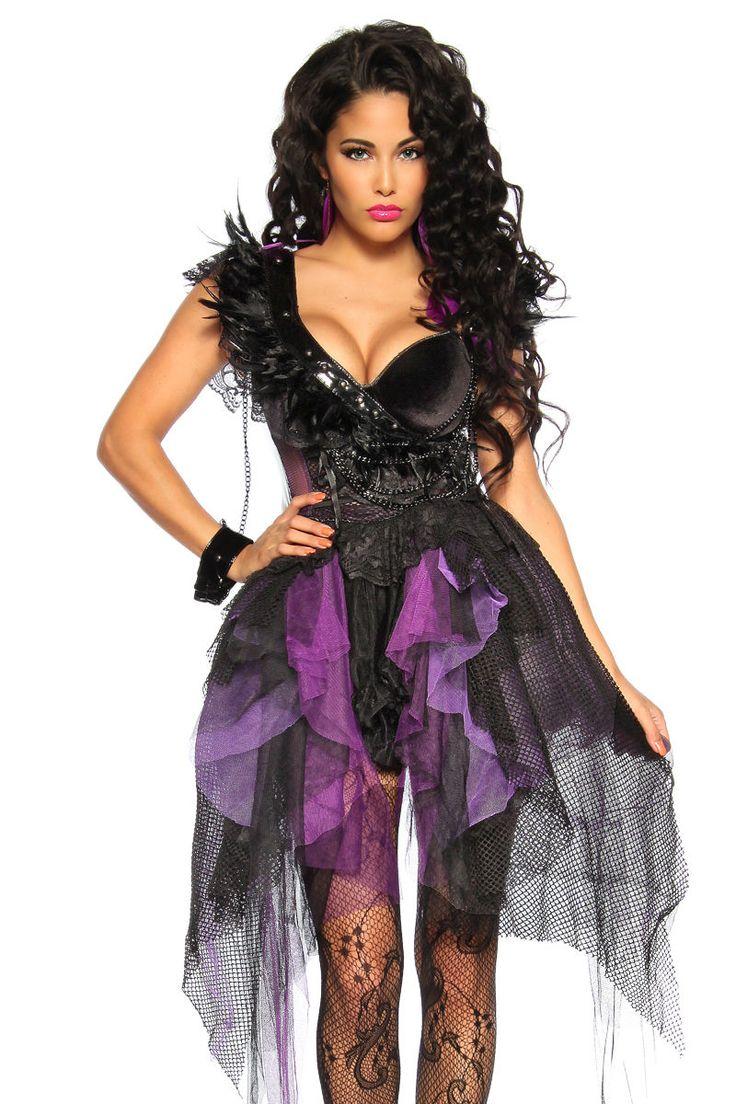 XXX Sexy Damen Kostüm Hexe lila Halloween Karnevall Hexenkostüm   eBay