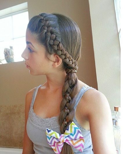 French braided headband into a four strand braid with a microbraid accent