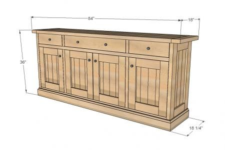Planked Wood Sideboard Add hooks for mugs on the wall, and it's a perfect Coffee/Beverage Bar.