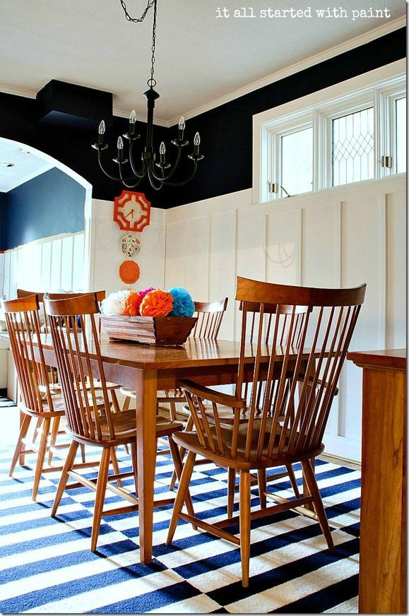Navy And White Board Batten Dining Room Diy
