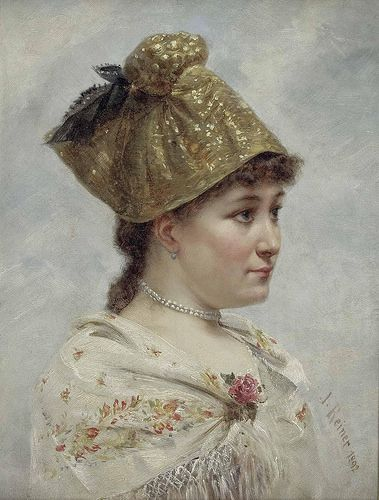 "Reiner, Joseph - Portrait of a Young Woman with a Goldhaube, 1892. The sequins of the goldhaube were sometimes attached loosely, so they could dangle and glitter in the light. ""Golden sunshine is sparkling around my forehead: Should I, beautiful one, not be a sun on earth"". (Thanks to Germanisches National Museum for the quote.)"