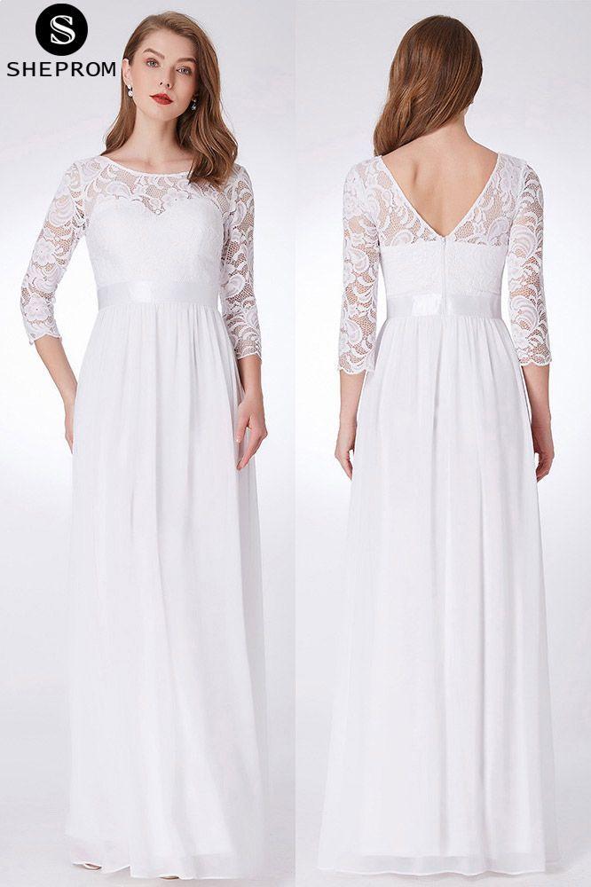 White Dress Long Empire Waist