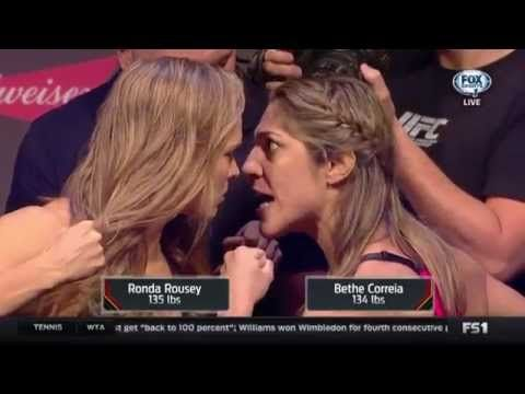 Ronda Rousey, Bethe Correia's Intense UFC 190 Weigh-in - YouTube