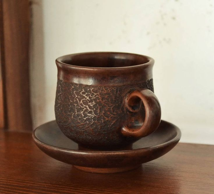 Ceramic cup   Coffee cup   Coffee pair   Ceramic drinkware   Handmade cup   Coffee set   Pottery for kitchen   Crockery   Brown cup   Saucer by ArtPotteryBaiTerek on Etsy