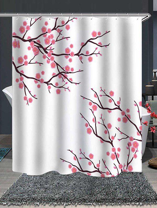 Tree Flowers Print Waterproof Bathroom Shower Curtain Ad