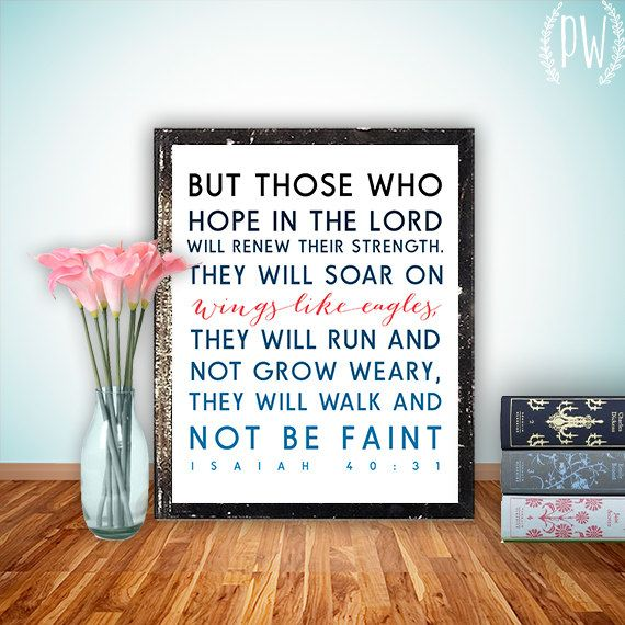 Bible Verse wall art, printable Scripture Print Christian wall decor poster, inspirational quote typography - Isaiah 40:31 - digital on Etsy, $5.00