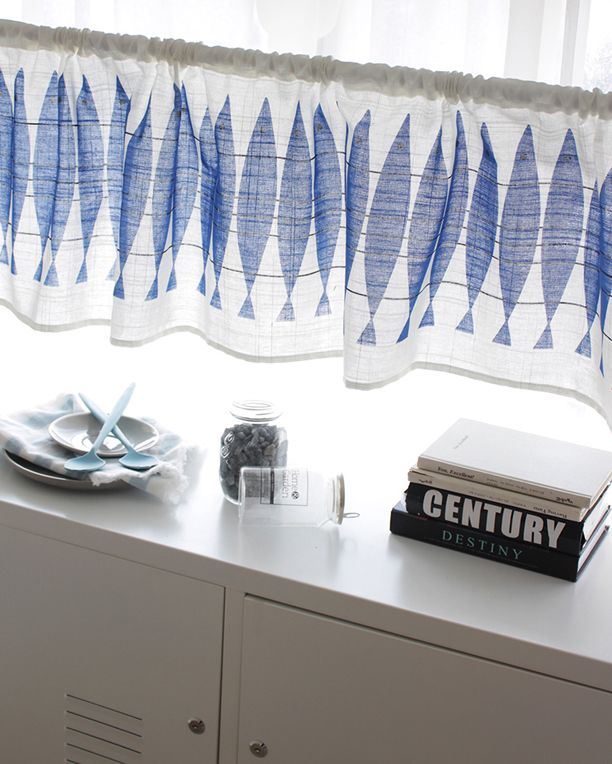 [바보사랑] 시원해보이죠? /데코/커튼/바란스/발란스/주방커튼/리빙/패브릭/인테리어/북유럽/청어/블루/파랑색/Deco/Curtains/Balance/Kitchen Curtains/Living/Fabric/Interior/Northern Europe/Herring/Blue