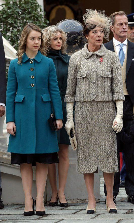 Princess Caroline, wearing Chanel, with 17-year-old daughter Princess Alexandra of Hanover.