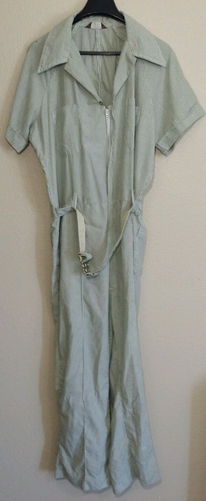 Vintage WALLS Coveralls Leisure-Alls Green Zip up Flared Bottoms 60'S 70'S Sz L #Walls
