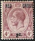 Straits Settlements 1917 Red Cross surch on 4c purple; hinged mint - 1917, CROSS, Hinged, Mint, purple, Settlements, Straits, surch