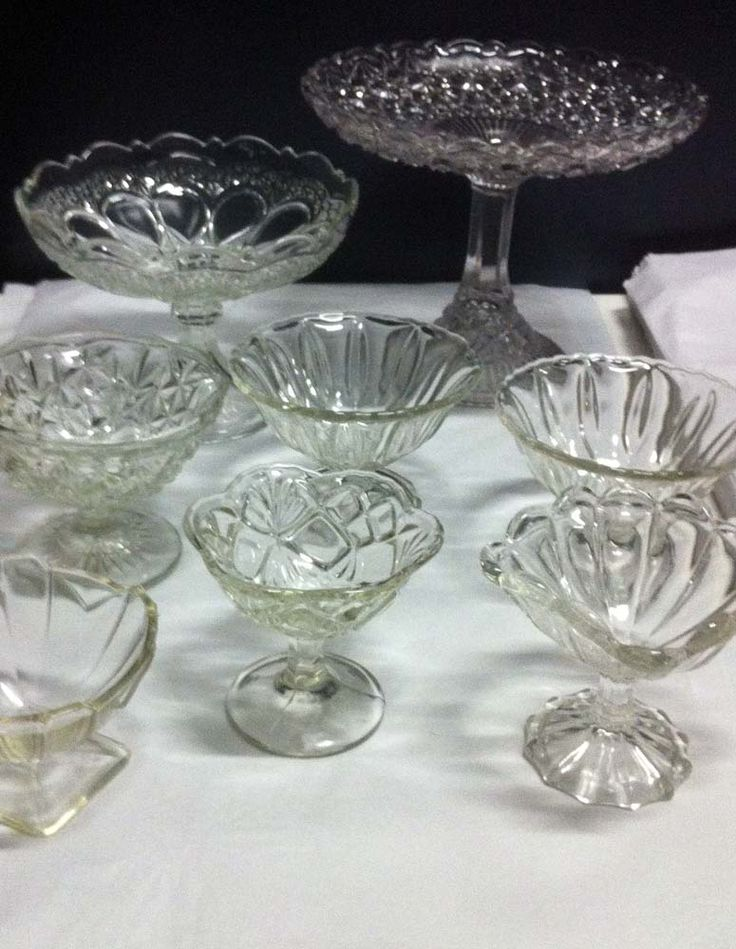Glass pedestal dishes