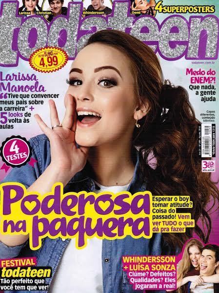 No mês de Agosto a estrela Larissa Manoela foi a cover girl da revista Toda Teen