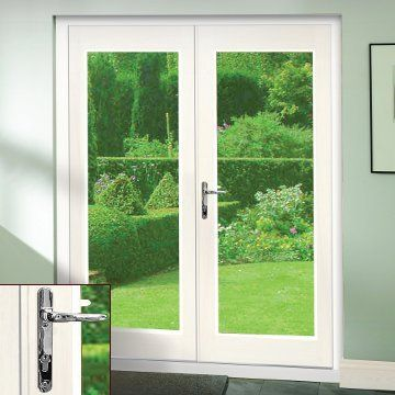 Chrome fittings with a  La Porte White French Door Pair & Frame Set