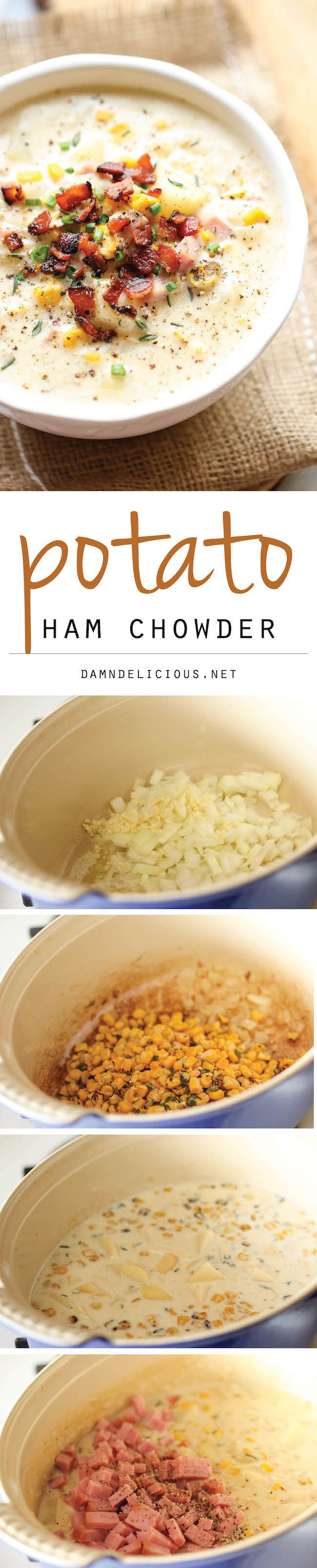 Potato Ham Chowder. Delicious!! And a great way to use up leftover ham (like from Easter!) The only thing I changed was that I used frozen diced hash browns instead of the russet potatoes. It worked great and was a huge timesaver!