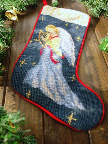 Needlepoint Christmas Stocking Beautiful Angel Playing Harp